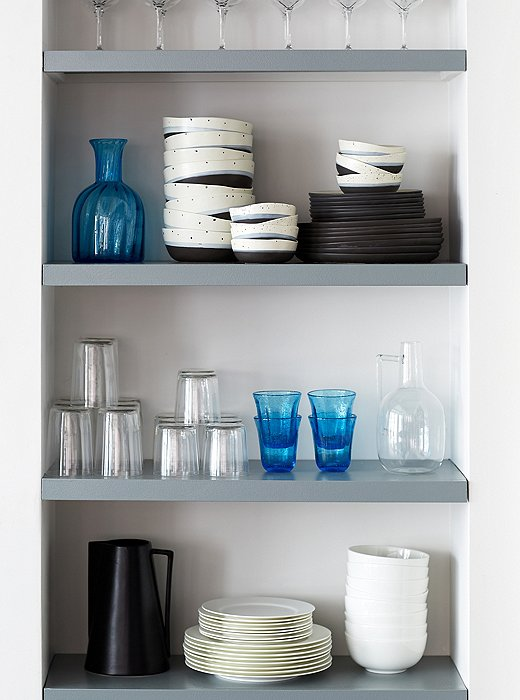 Alex created a superclean collection of china and glassware that made us rethink more-formal settings. How crisp!