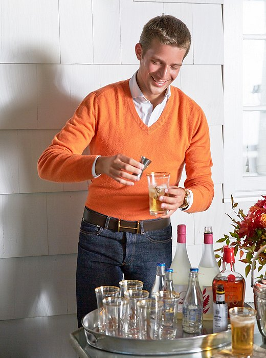 Sam makes every effort to stay removed from bar (and kitchen) duty during parties, except to mix himself a cocktail.