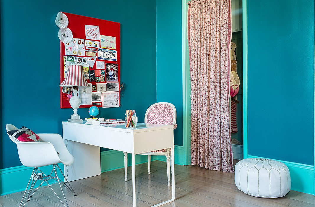 "The color of Kiki's bedroom was inspired by a visit to Frida Kahlo's Casa Azul in Mexico City. ""This much color would have been a major commitment in the rest of the house, but it was a low-level risk to experiment in my daughter's room. And she approves."""