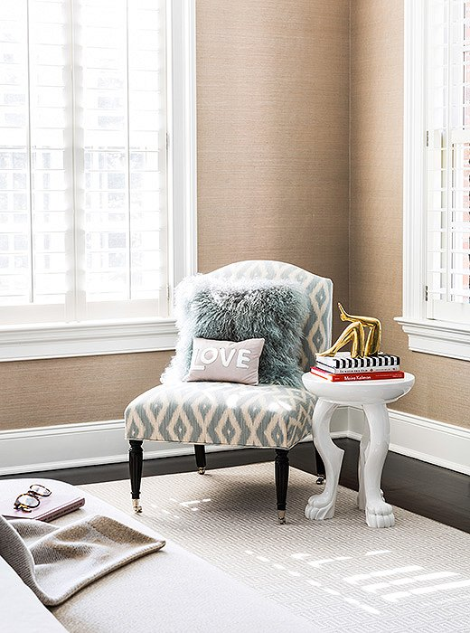 Layered textures lend this corner an especially restful come-and-curl-up feel.