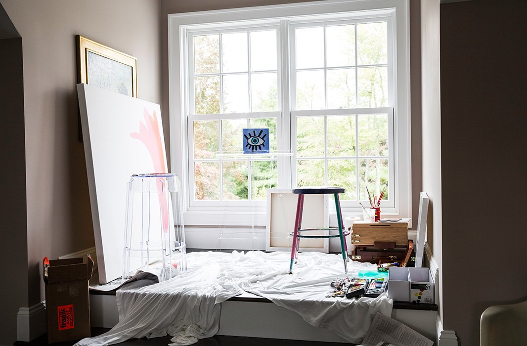 All you really need to create a painting studio is loads of natural light.