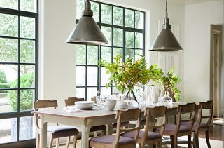 Sunlight Pours Into The Breakfast Area Through Steel Casement Windows;  Their Industrial Feel Is Carried