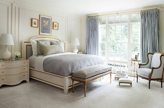 Touches Of Gold Are Woven Throughout Suzanneu0027s Bedroom, From The Detail On  The Bed To