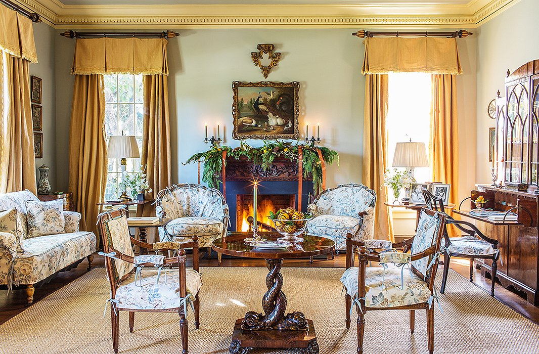 Making a grand style statement in one area—as Rheinstein does here with the lavishly dressed and candlelit mantel—is chicer and less distracting than doing a series of smaller vignettes throughout a room.