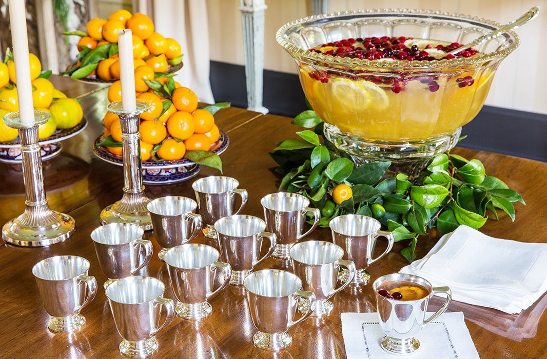 Punch is always a crowd-pleaser, and it allows the hostess to attend to last-minute details in the kitchen rather than being tied up taking drink requests.