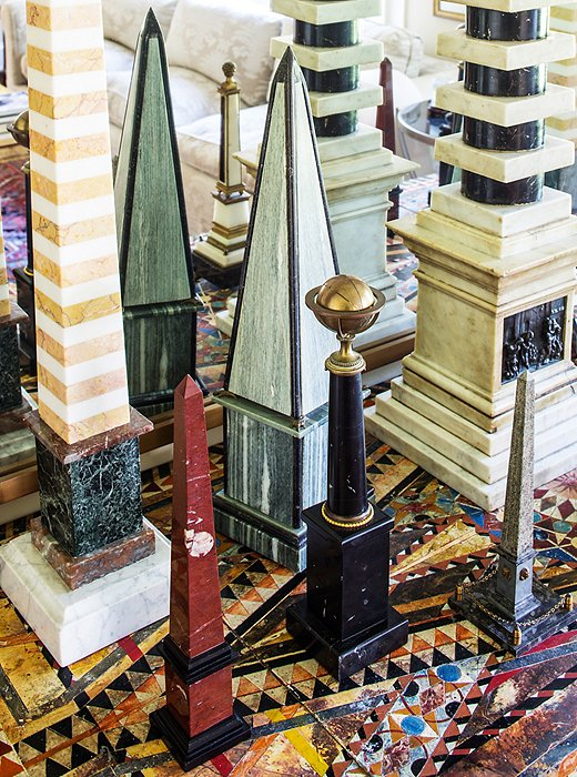 A collection of obelisks are actually what's known as grand tour objects—17th- through 19th-century souvenirs traditionally brought back by young English, American, and German aristocrats.