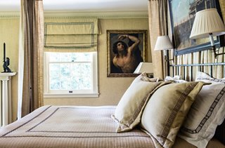 In The Master Bedroom, Timothy Used A Similar Fabric To Upholster The Walls  And Make