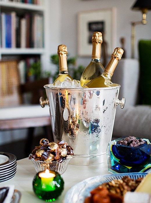 Timothy uses a mix of old and new silver for serving. The statement piece? This vintage Hermès ice bucket marked with a gorgeous timeworn glimmer.