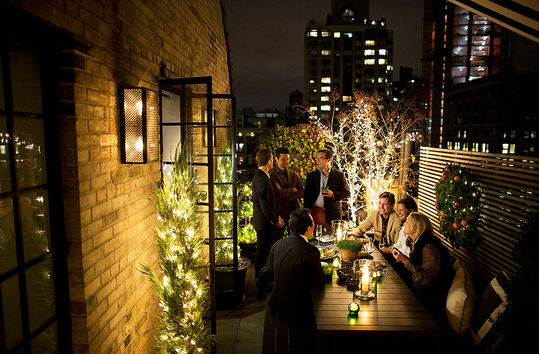 Parties wind up seamlessly transitioning out onto the dining area of the terrace, where guests linger long into the evening.