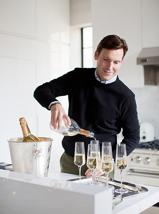 Champagne is the household holiday refreshment at interior designer Timothy Whealon's cocktail gatherings.