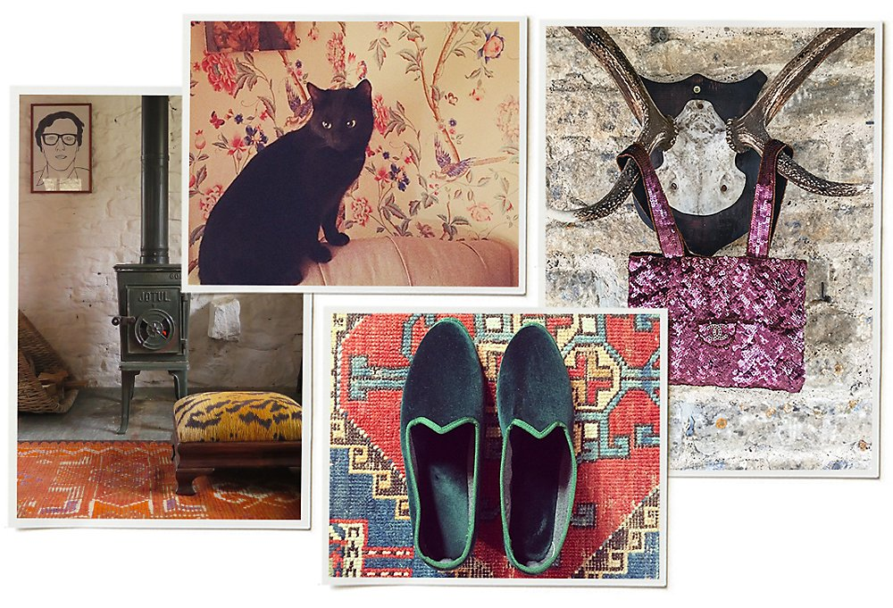 Clockwise from bottom center: A pair of velvet slippers; a leopard stool (found at a local antiques shop) sits in Amanda's home office; a snapshot from her enviable Instagram feed; a sequined Chanel bag hangs from a set of antlers.