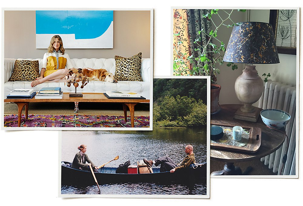 Clockwise from bottom center: Amanda and husband Christopher in the Adirondacks in the late 1990s; Amanda sitting in their bold and chic NYC apartment; an elegantly earthy vignette in the couple's farmhouse.