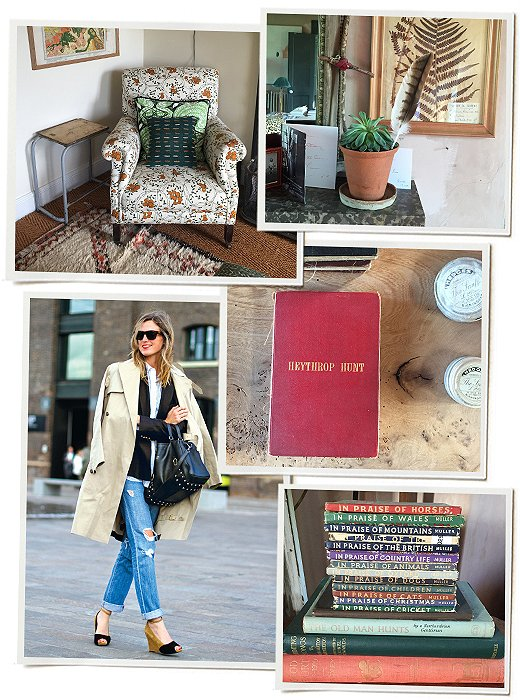 Clockwise from bottom left: Amanda wears a classic combo of Celine and J. Crew; a pretty mix of patterns in a corner of the cottage; pressed plants and a few pieces of ephemera; vintage books.