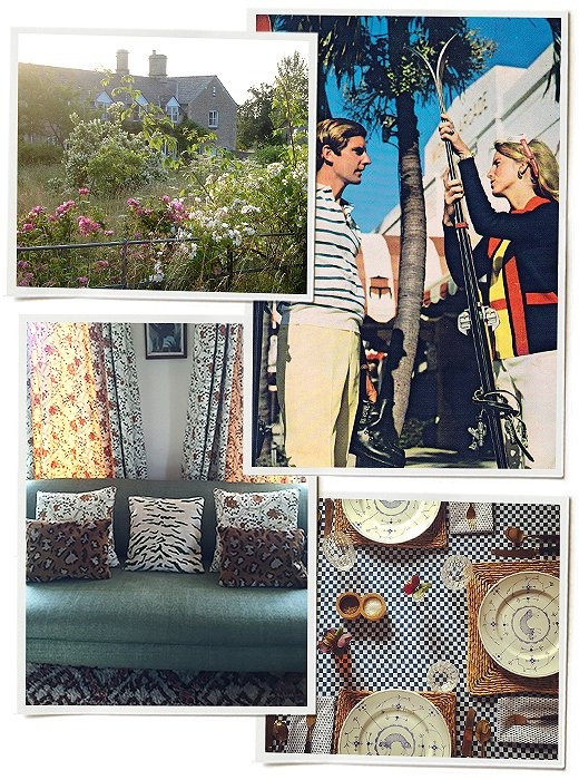 Clockwise from bottom left:  An eclectic mix of pillows on a sofa; Amanda's farm cottage in Oxfordshire, England; Amanda's mom and dad on the cover of Palm Beach Life in the 1960s; a table set for lunch—the plates are a gift from her mother.