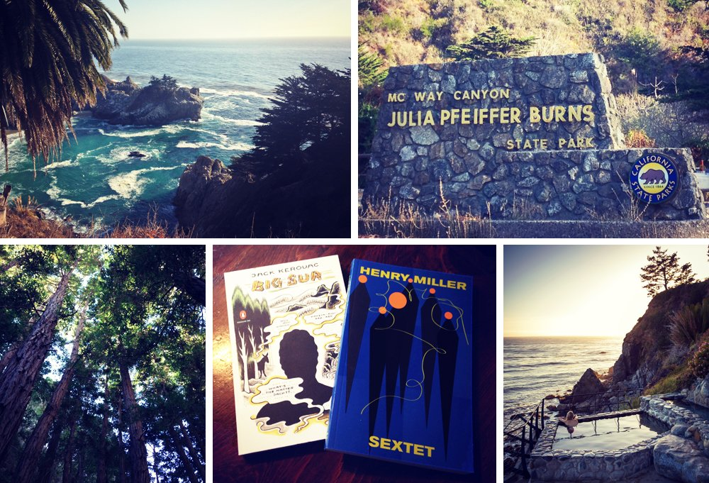 Clockwise from top left: Partington Cove, reached by a short, steep hike; spend a day or two exploring the local state park; seaside soaks at Esalen (photo by Brown W. Cannon III); must-reads at the Henry Miller Memorial Library; a redwood grove lies within the Julia Pfeiffer Burns State Park.