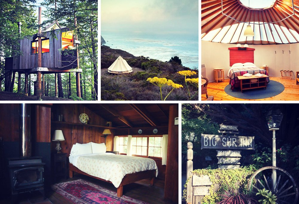 Clockwise from top left: A treetop room at Post Ranch; an ocean-view campsite with tent at Treebones; the inside of a Treebones yurt; welcome to Deetjen's; some rooms at Deetjen's have wood-burning stoves.