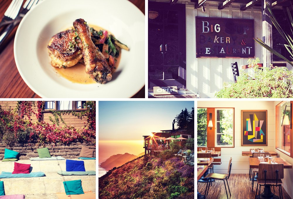 Clockwise from top left: Good eats at the Big Sur Roadhouse (photo by James Hall Photography); hit the Big Sur Bakery early to avoid the morning rush; a look inside the Big Sur Roadhouse (photo by James Hall Photography); Sierra Mar restaurant, on high; pillows for lounging as you wait for a table at Nepenthe.