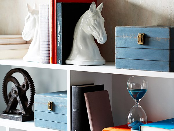 Remember that some items, like bookends, are great on their own but even better in pairs.