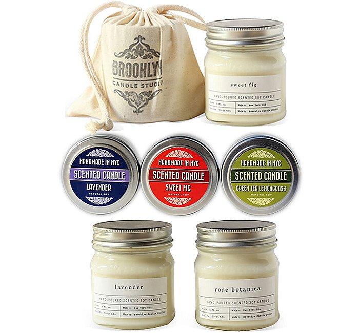 From top: Sweet Fig Mason Jar Candle; Best of BCS: Travel Tins, Set of 3; Fleura Set: Lavender & Rose Botanica.