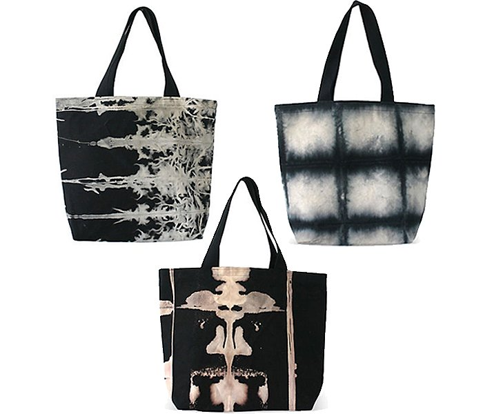 Clockwise from top left: Caribou 2.0 Tote; Midnight Tote; Grid Tote.