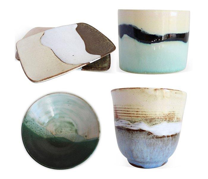 Clockwise from top left: Feld Tray, Elbe; Small Berg Planter;Spring Landschaft Vase; Moos Bowl.
