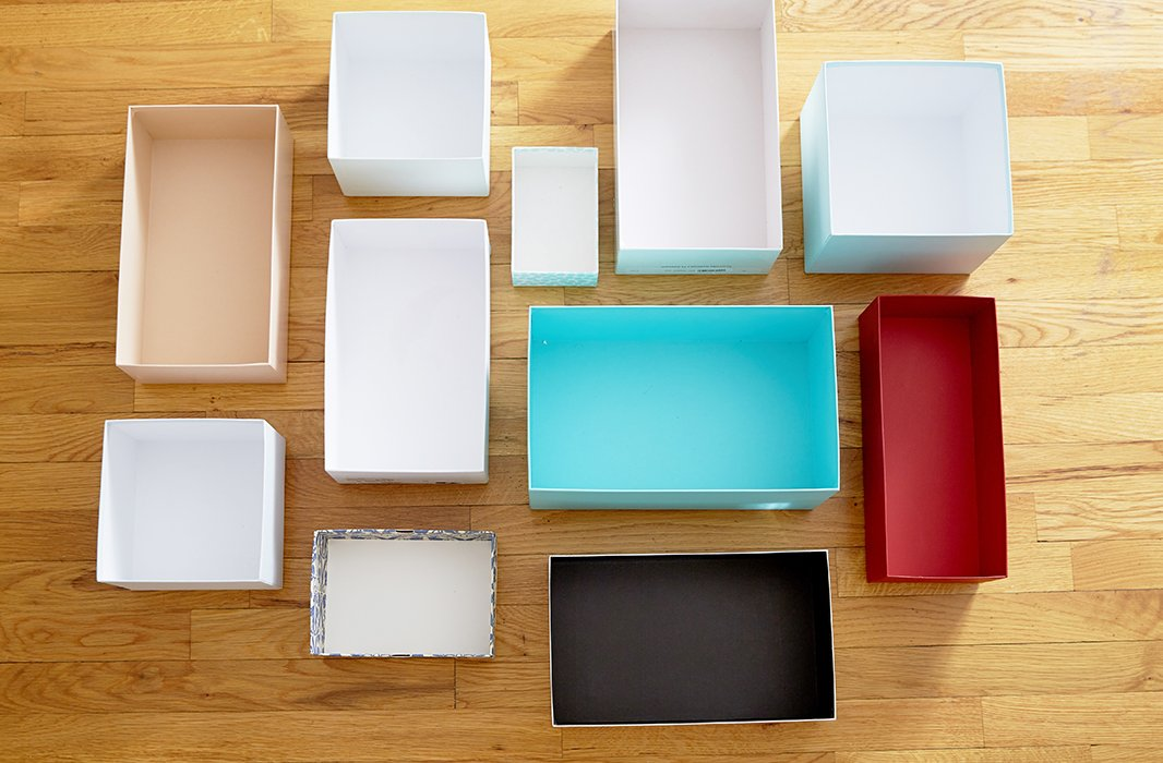 While she doesn't go for the classic storage pieces, Kondo loves a good shoebox (or any pretty box you have tucked away) for its all-purpose organizing power.