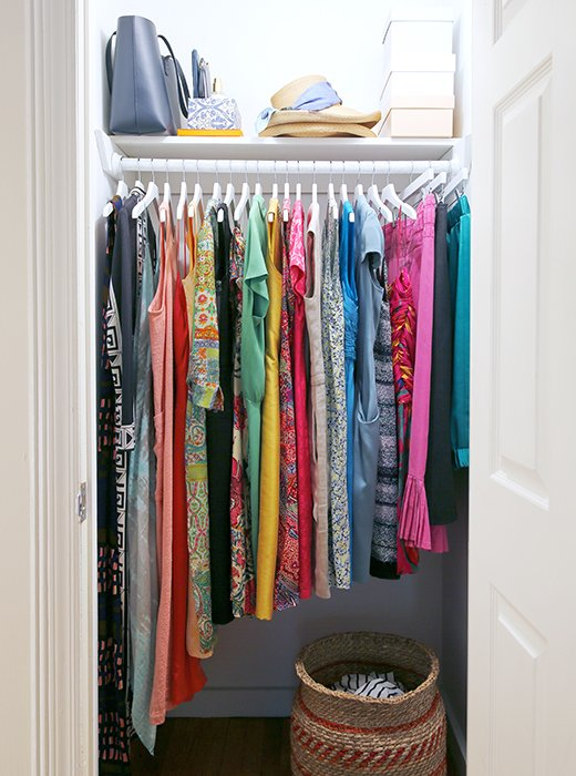 Kondo advises hanging clothes so that the line along the bottom slopes upward—it adds an optimistic zing.