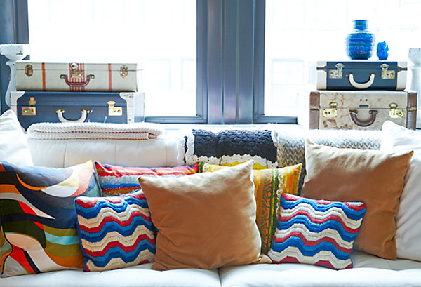 Eclectic Mix Of Pillows : Chris Benz Office Tour