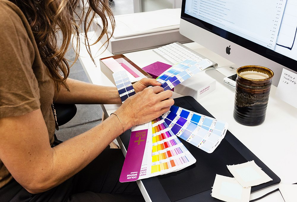 The Pantone book is called in whenever color decisions need to be made.