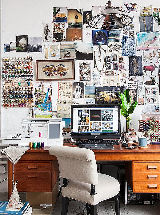 "Behind every successful woman… is a killer inspiration board, or so we've found. Housley's epic art-inspo wall consists of tears from magazines including World of Interiors, Marie Claire Maison, and Selvedge, among many, many others. ""I love to pop into those stores that sell racks and racks of magazines, mostly from overseas,"" she says."