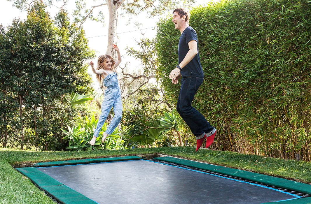 "The trampoline, where David and Liz resolve any arguments, is a guaranteed crowd-pleaser. ""Trampoline sounds like an age thing, but it's not age specific,"" laughs David. ""We've had Jeanne Tripplehorn jumping up and down on it refusing to sit down to dinner."""