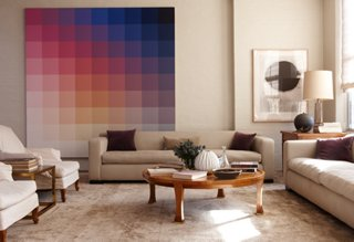 Superbe In The Living Room, A Huge Painting By Robert Swain Enlivens The Otherwise  Neutral Space