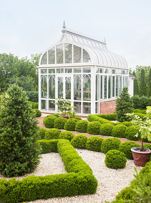 Lemon trees, planted in urns, dot the Italianate gardens. They're moved to the indoor pool during winters to keep warm.