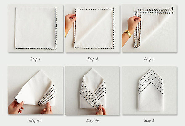 Folding Table Napkins : handkerchief how to fold napkin into a square starting at the most ...