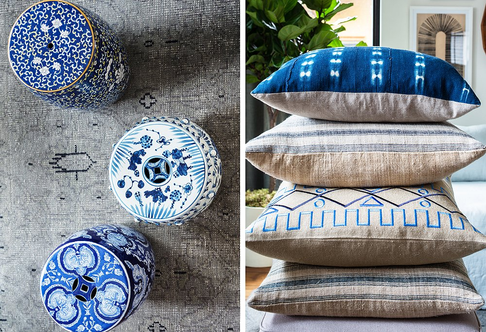 Thanks to their shared palette of blues, a trio of differently patterned garden stools riffs perfectly off shibori and French-grain-sack pillows.