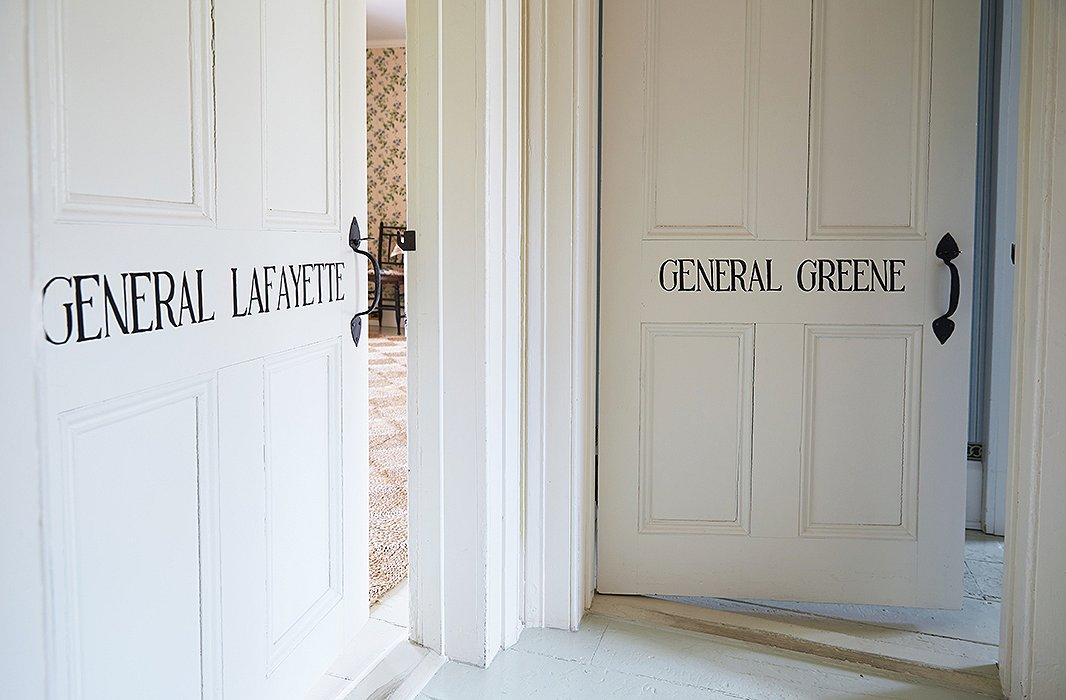 The eight bedrooms are each named after a Revolutionary War general, with the corresponding moniker stenciled on the door.