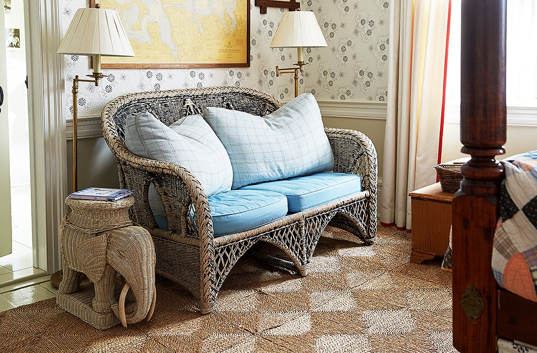 Christoph's room also holds a kid-size wicker sofa and a darling elephant side table.
