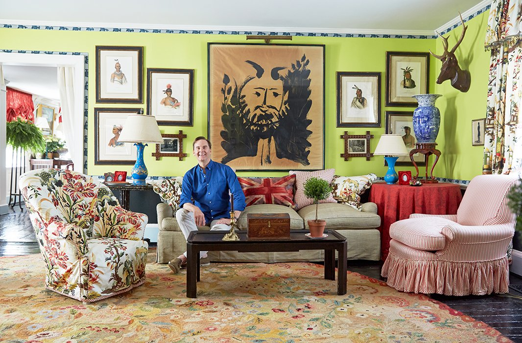 No matter where your eye lands in Jeffrey's living room, it will be on something visually arresting, from the ink drawing surrounded by McKenney & Hall Native American portraits to the Brunschwig & Fils Les Lac floral upholstery.