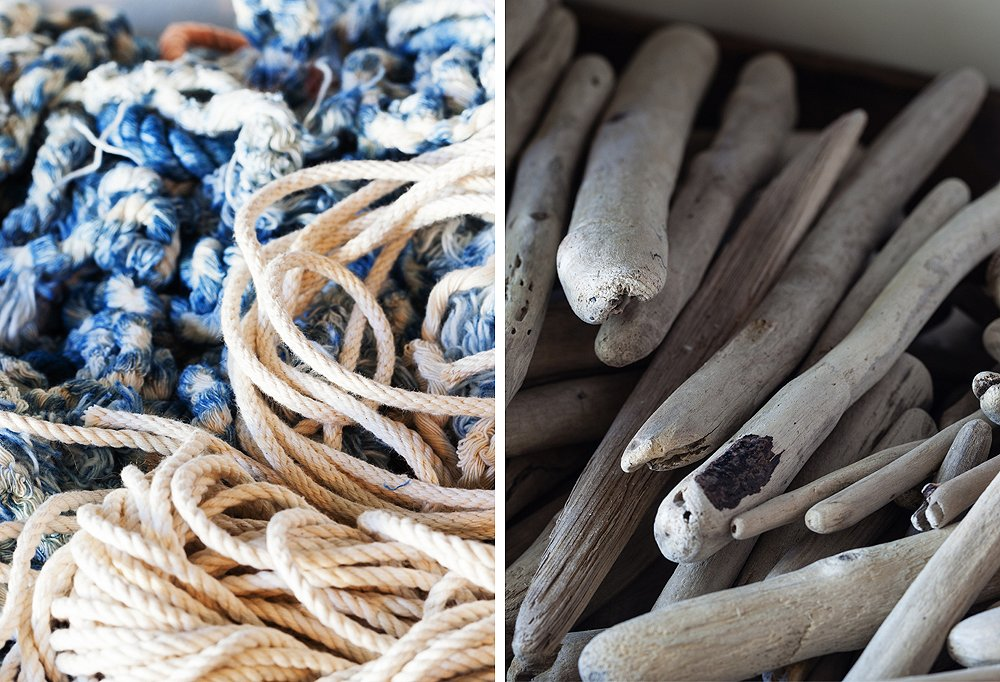 Inside each lofted wooden drawer you'll find Maya's raw materials, from rope (both indigo-dyed and natural) to pieces of driftwood she'll use to hang her weavings.