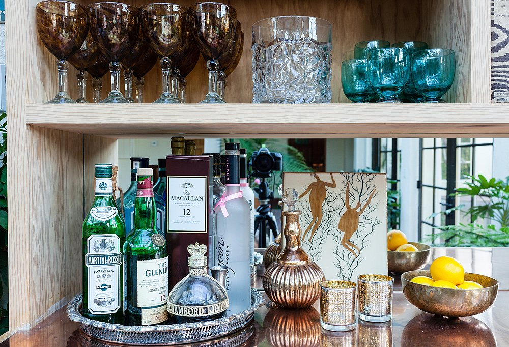 """I have a bit of a barware collection,"" laughs Tarses. ""Pieces from my wedding and from my grandma, and I just bought some new tortoise highballs from One Kings Lane that are on their way."" When she throws a party, she'll set out a mix of glassware for guests."