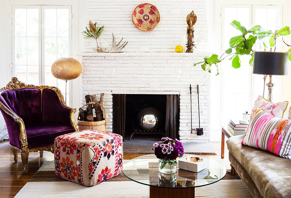 Beside The Fireplace Was One Of Two Purple Upholstered Chairs That Kim Scored At A Paris