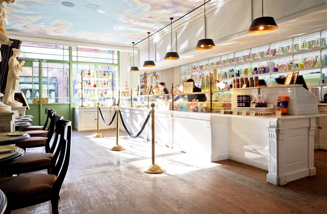 The kitchen's inspiration were Ladurée's stunning shops, such as its newest NYC location (pictured above), and signature pretty packaging.