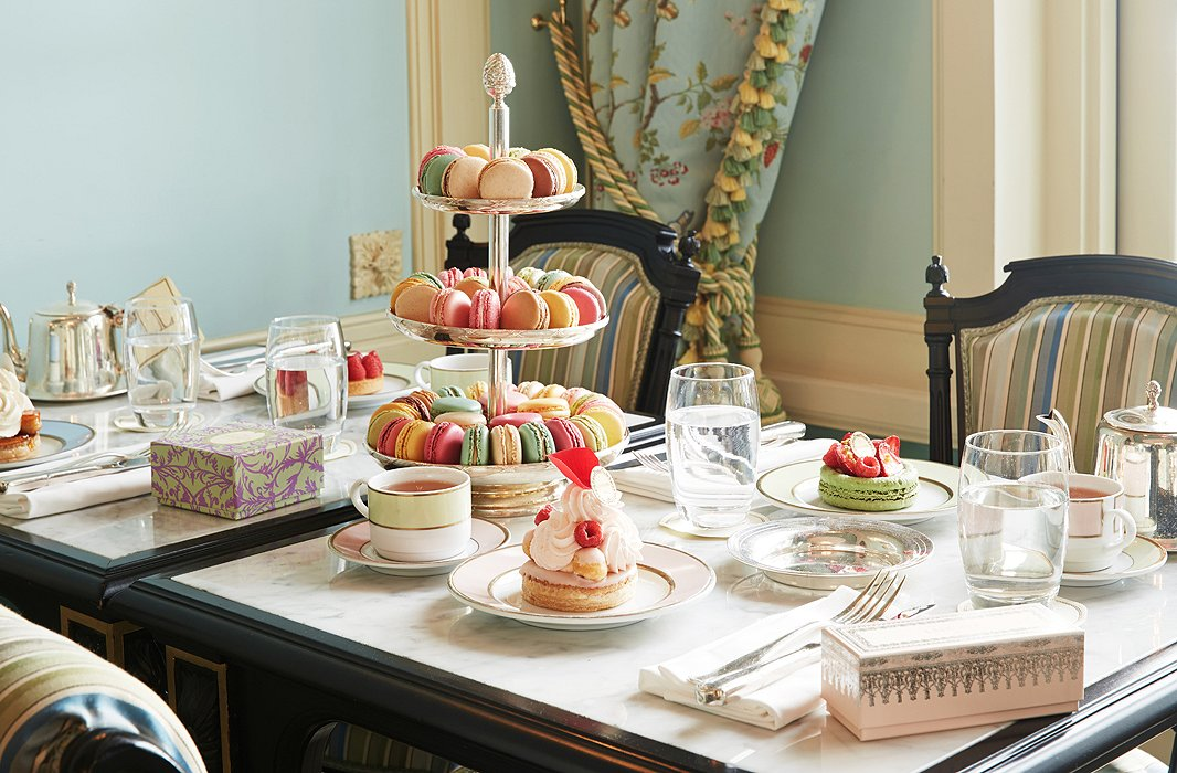 Picture-perfect, as if it leapt off a page of your favorite childhood storybook, this tea party (and every meal here) uses Ladurée's signature pastel china, crafted for the company by lauded French porcelain house Bernardaud.