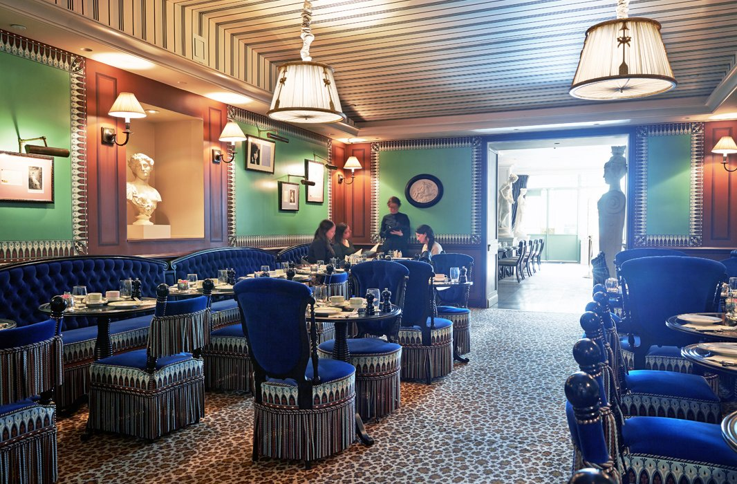 Pass through the whimsical café up front and you'll wind up in this plush room all wrapped in velvet and animal print. This is where Ladurée devotees gather for farm-fresh omelettes in the morning, delight in sumptuous tea spreads in the afternoon, or linger over dinner and cocktails late into the night.