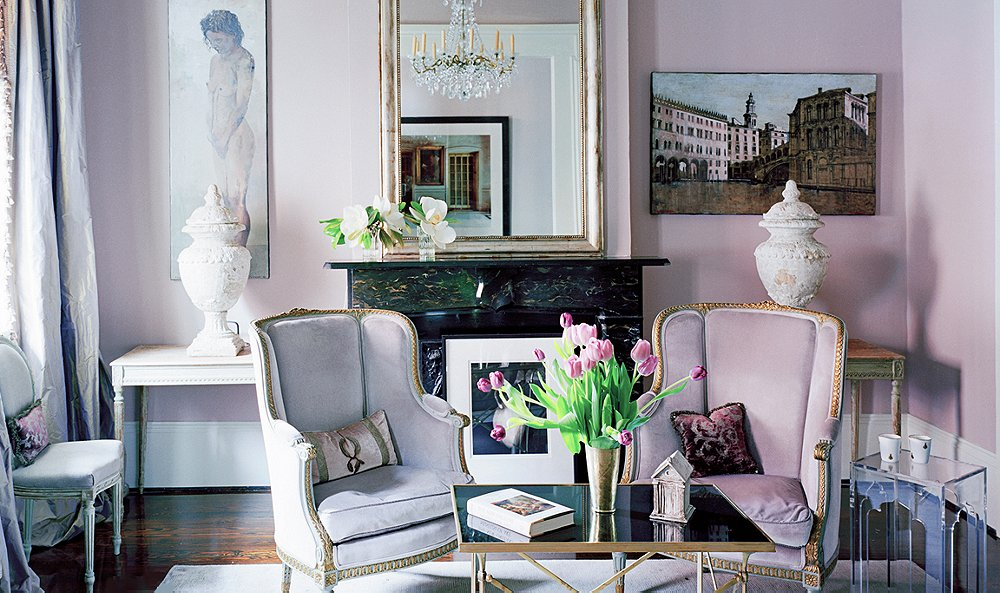 Lavender paint ideas for your home one kings lane for Mauve living room decor