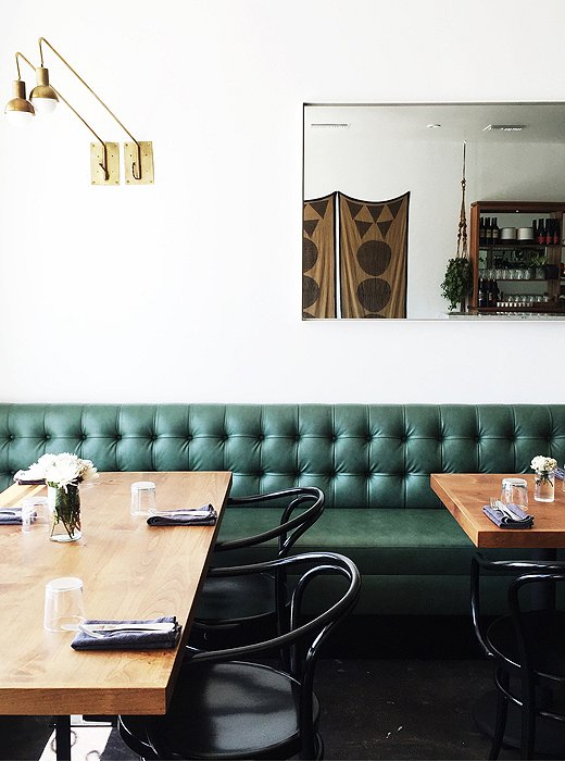 We're green with envy over Ostrich Farm's jade-colored banquettes.