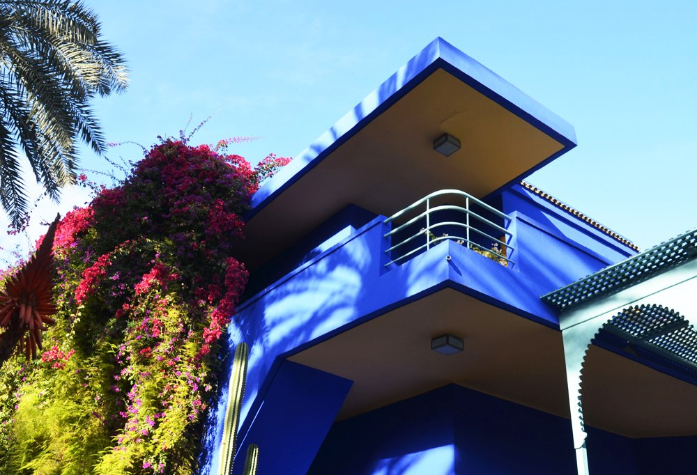 Jardin Majorelle, the former home and gardens of Yves Saint Laurent, is so known for its bright blue, there's even anYSL nail polish named after it.