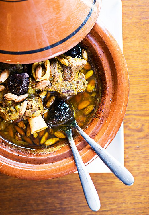 When in Morocco… try a tagine, a savory stew of meat and veggies cooked in a Hershey Kiss-shape vessel of the same name.