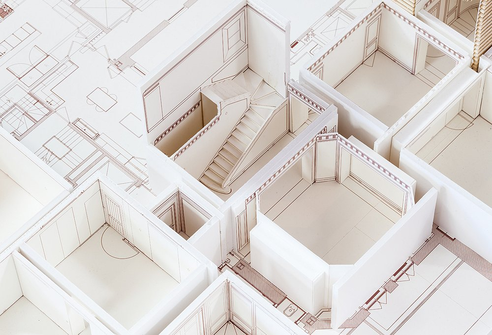 A model of one of Smith's design projects that includes every last detail of the space, including to-scale renderings of the type of molding he planned to use in each room.