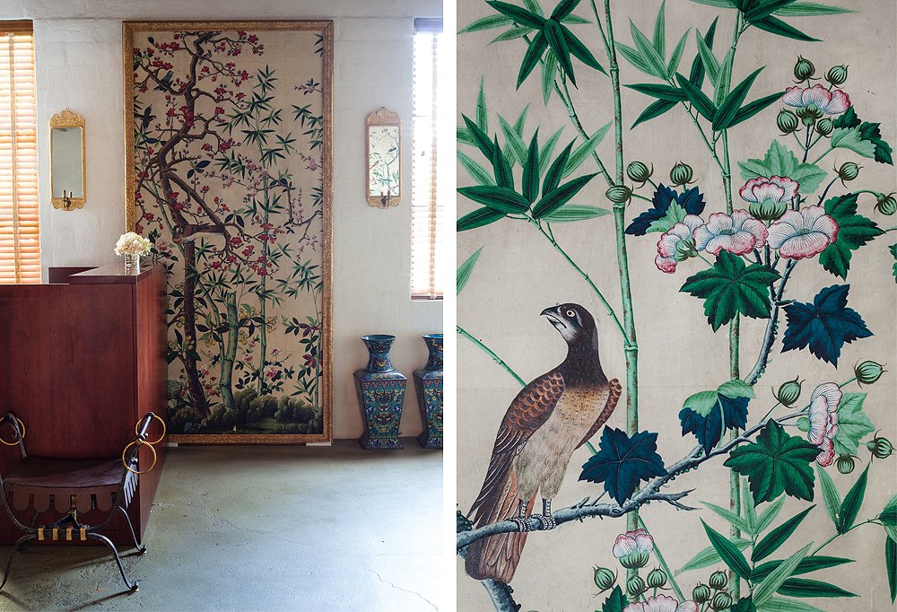 The office entryway is lined with a set of five European painted wallpaper panels purchased at Christie's.